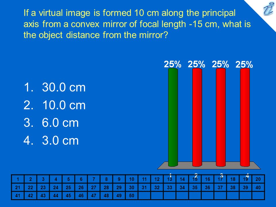If a virtual image is formed 10 cm along the principal axis from a convex mirror of focal length -15 cm, what is the object distance from the mirror
