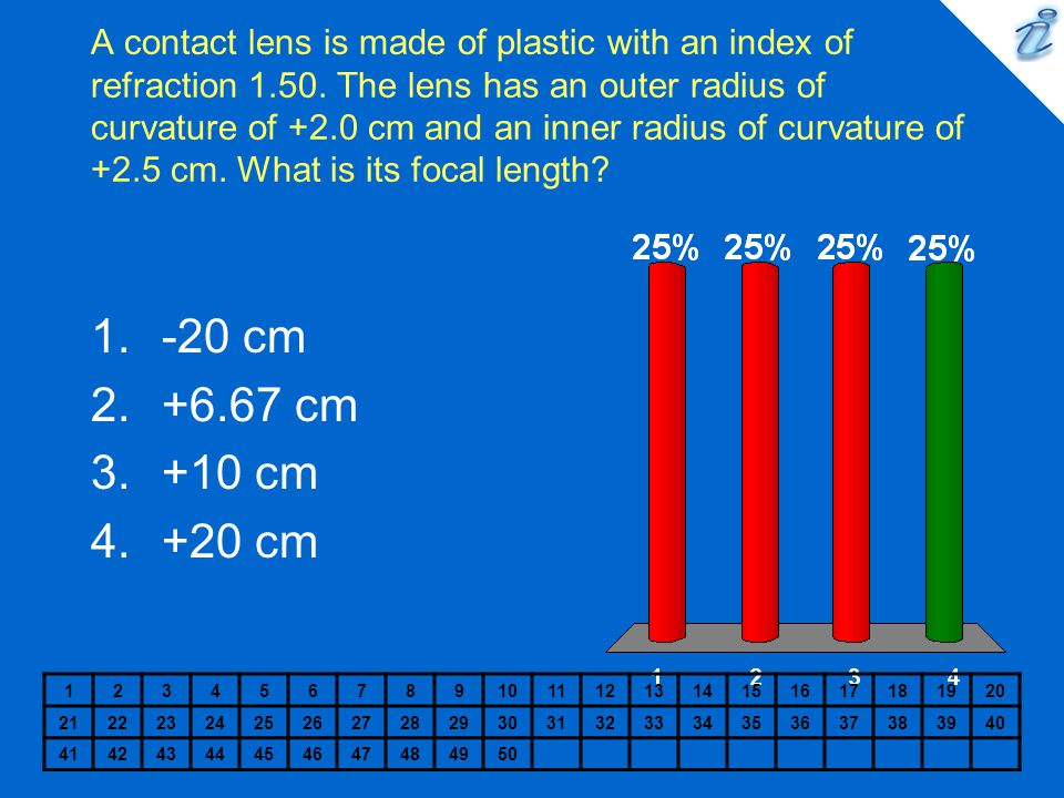 A contact lens is made of plastic with an index of refraction 1. 50