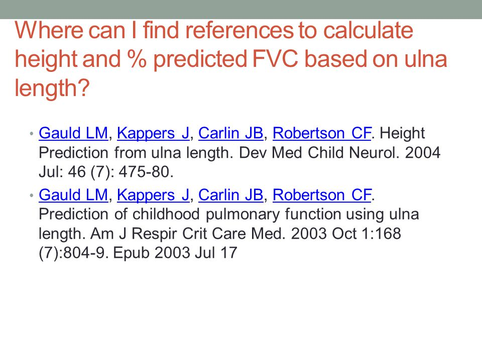 Where can I find references to calculate height and % predicted FVC based on ulna length