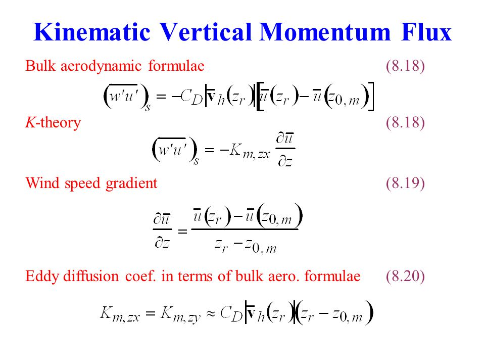 Kinematic Vertical Momentum Flux