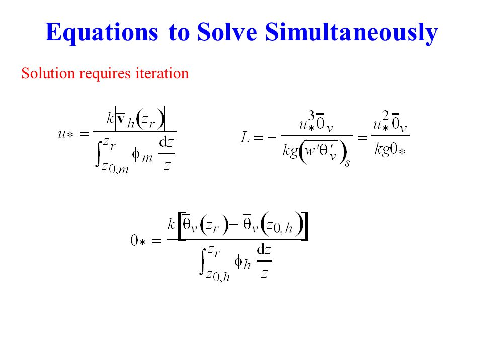 Equations to Solve Simultaneously