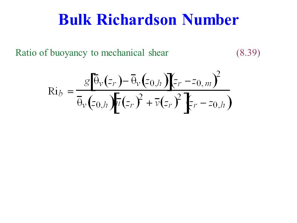 Bulk Richardson Number