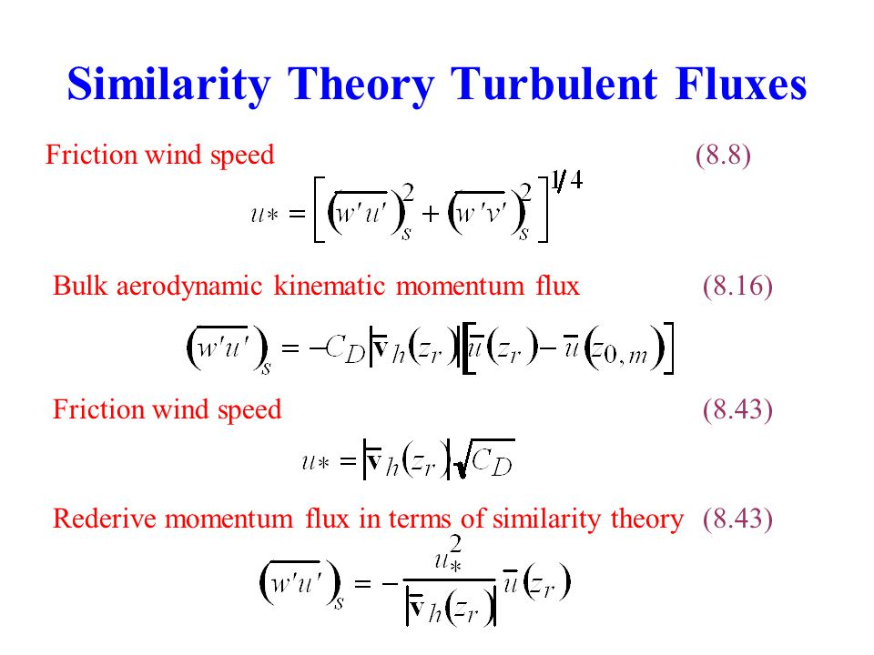 Similarity Theory Turbulent Fluxes