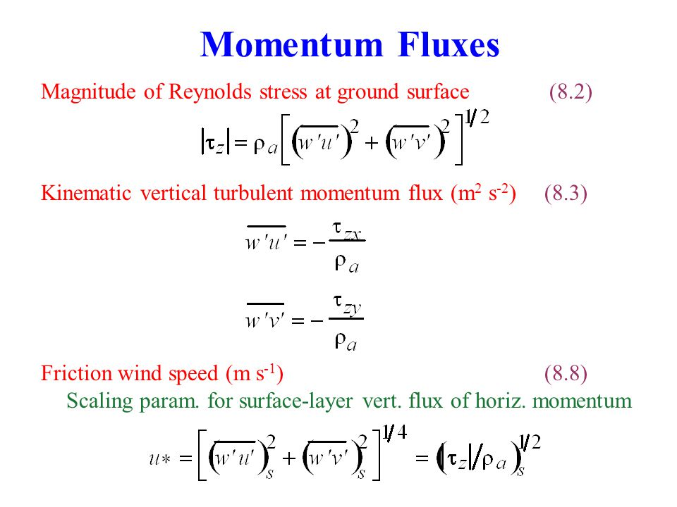 Momentum Fluxes Magnitude of Reynolds stress at ground surface (8.2)