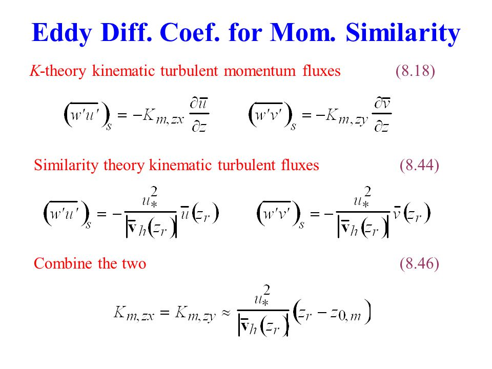 Eddy Diff. Coef. for Mom. Similarity