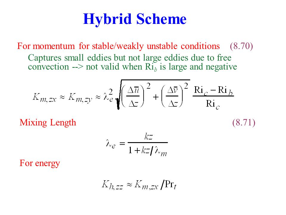 Hybrid Scheme For momentum for stable/weakly unstable conditions (8.70)