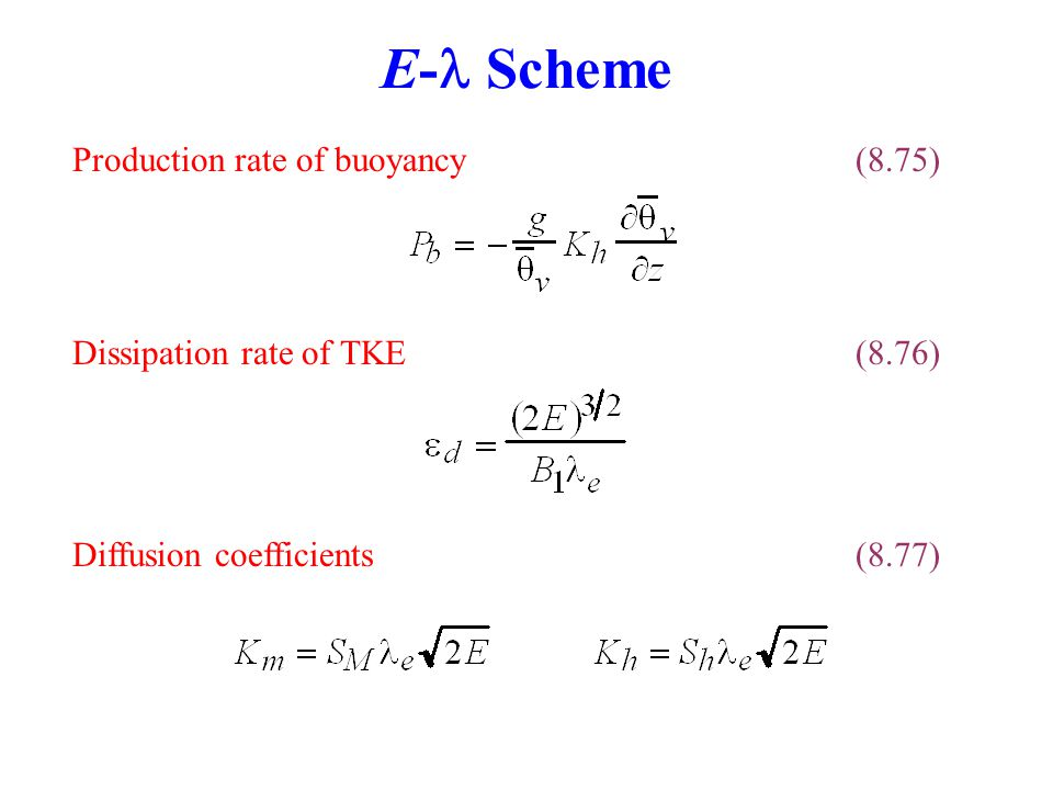 E- Scheme Production rate of buoyancy (8.75)