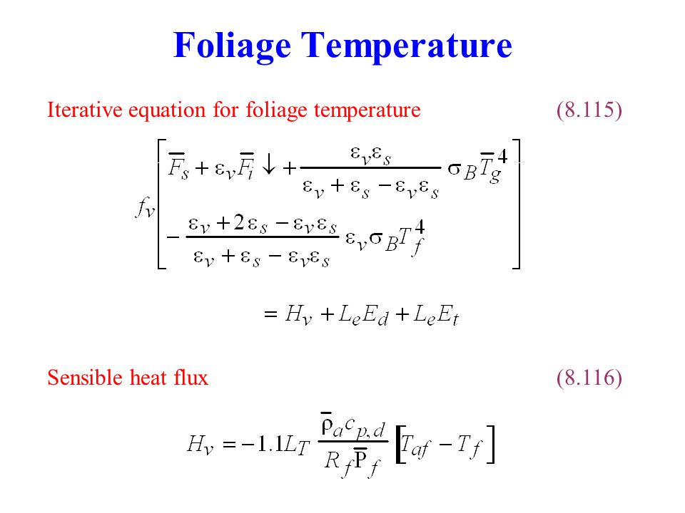 Foliage Temperature Iterative equation for foliage temperature (8.115)