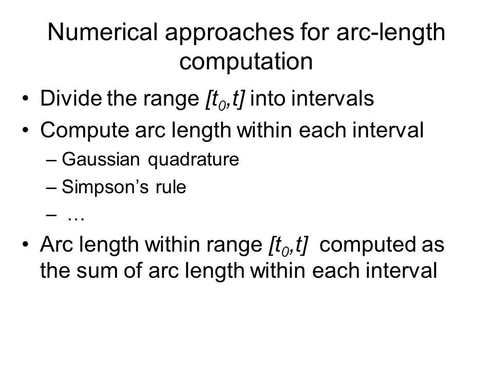 Numerical approaches for arc-length computation