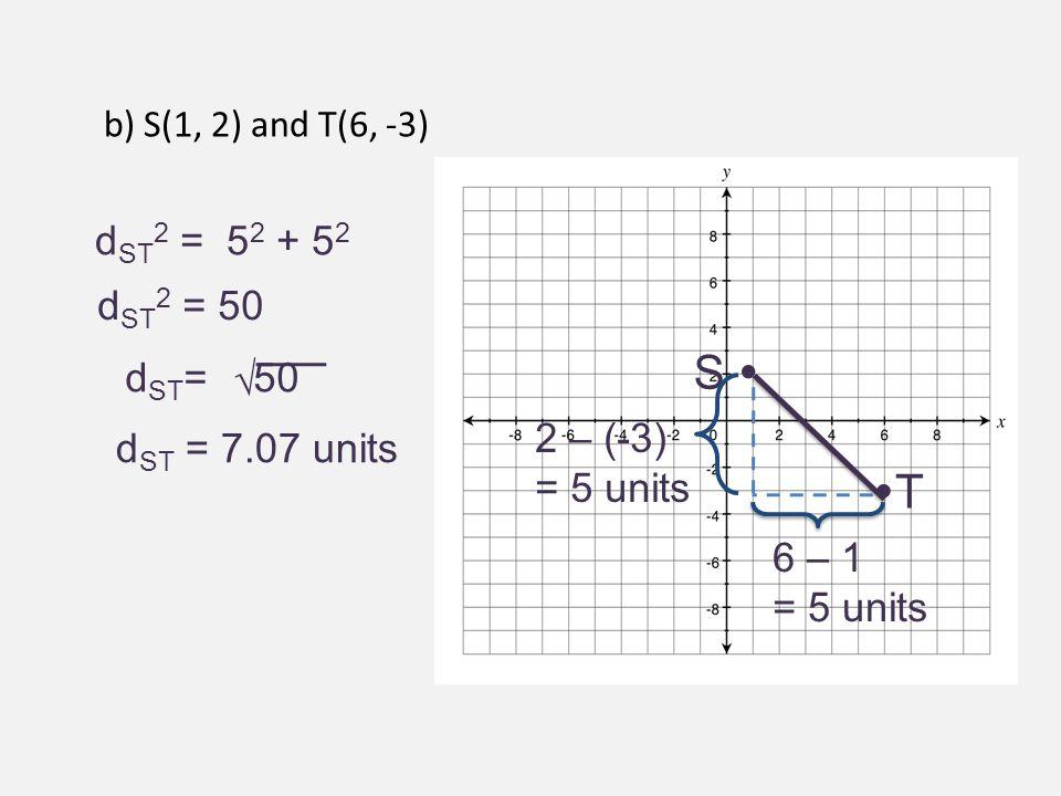 S  T dST2 = 52 + 52 dST2 = 50 dST= 50 √ 2 – (-3) dST = 7.07 units