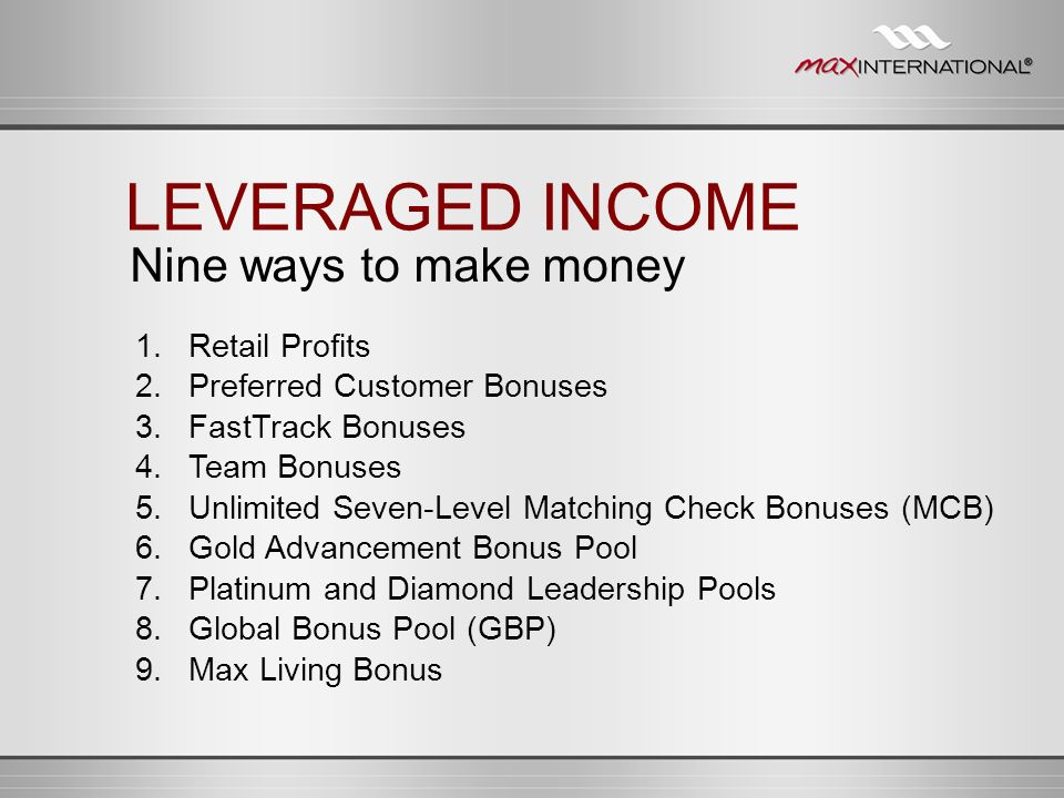 LEVERAGED INCOME Nine ways to make money 1. Retail Profits