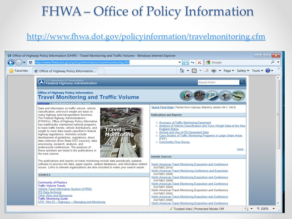 FHWA – Office of Policy Information http://www. fhwa. dot