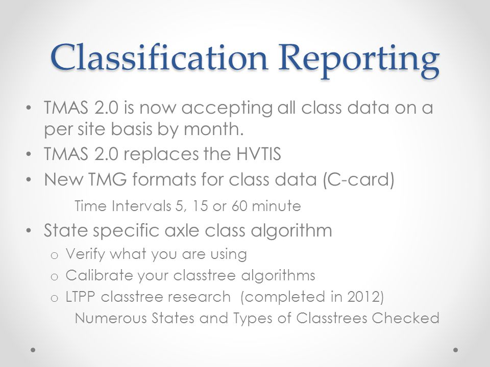 Classification Reporting