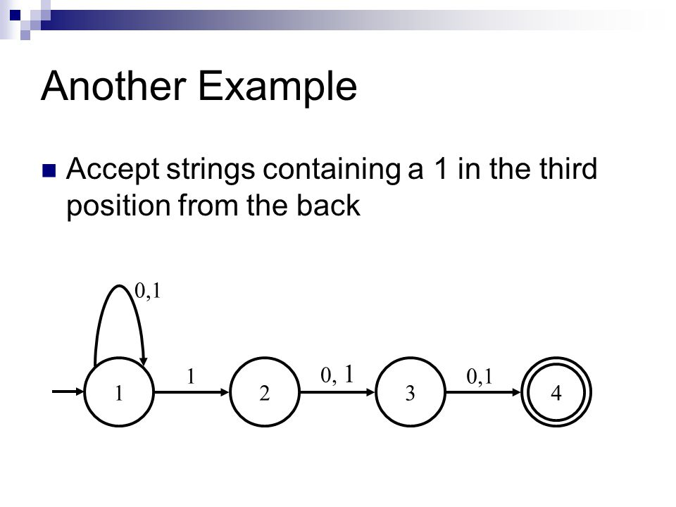 Another Example Accept strings containing a 1 in the third position from the back 1 2 3 4 0,1 0, 1