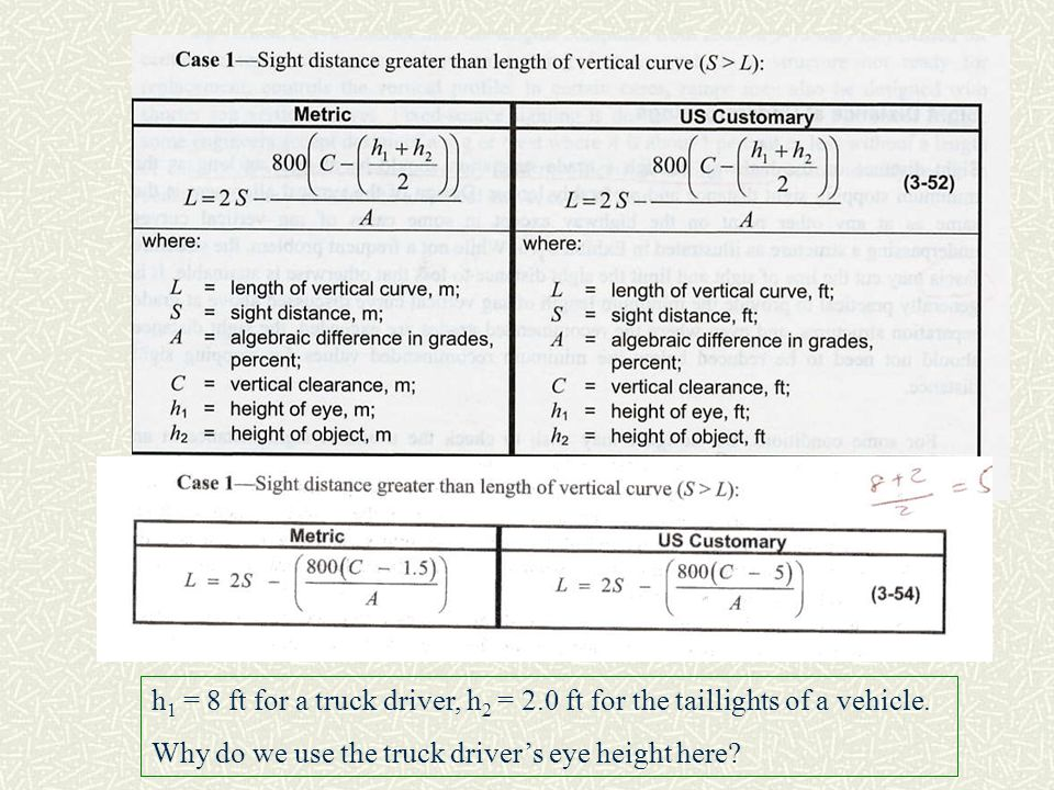 h1 = 8 ft for a truck driver, h2 = 2
