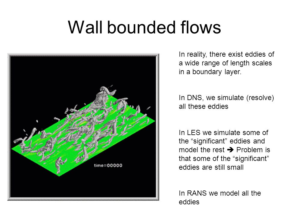 Wall bounded flows In reality, there exist eddies of a wide range of length scales in a boundary layer.