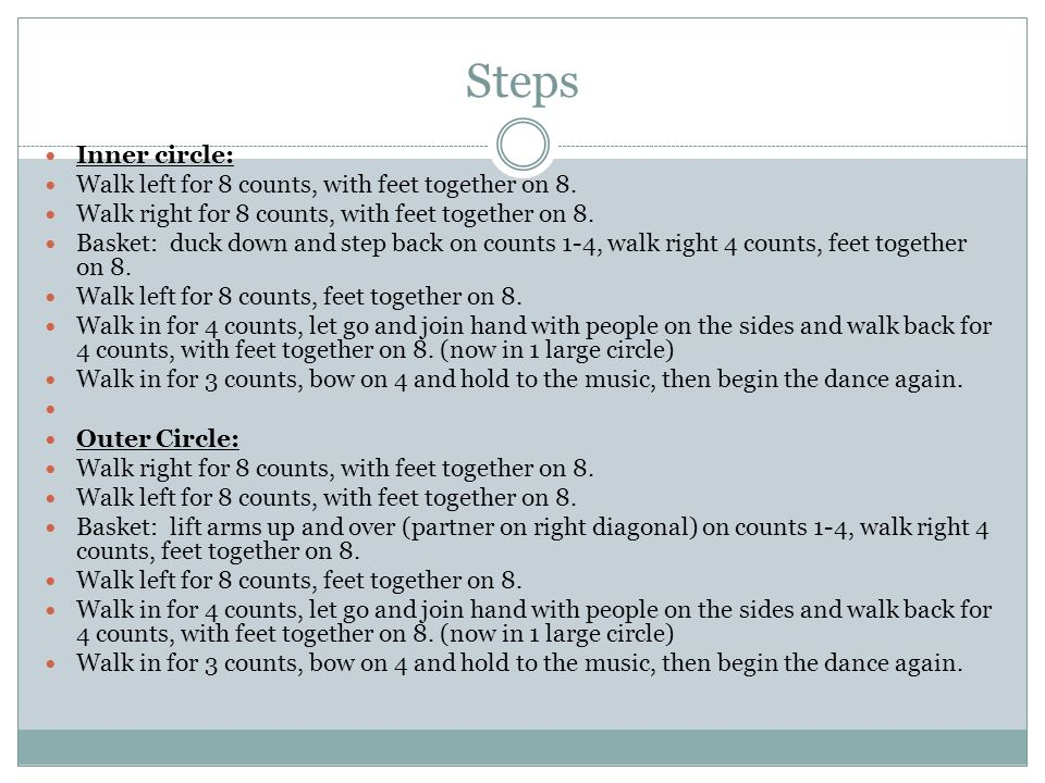 Steps Inner circle: Walk left for 8 counts, with feet together on 8.