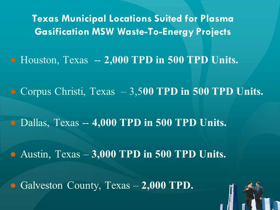 Texas Municipal Locations Suited for Plasma Gasification MSW Waste-To-Energy Projects