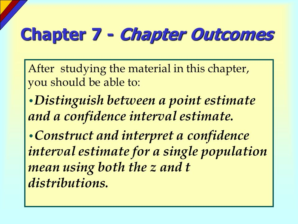 Chapter 7 - Chapter Outcomes