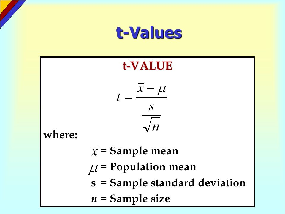 t-Values t-VALUE where: = Sample mean = Population mean