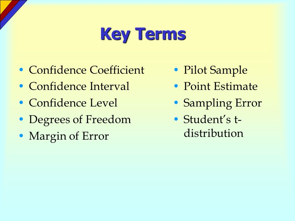 Key Terms Confidence Coefficient Confidence Interval Confidence Level