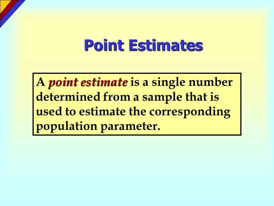 Point EstimatesA point estimate is a single number determined from a sample that is used to estimate the corresponding population parameter.
