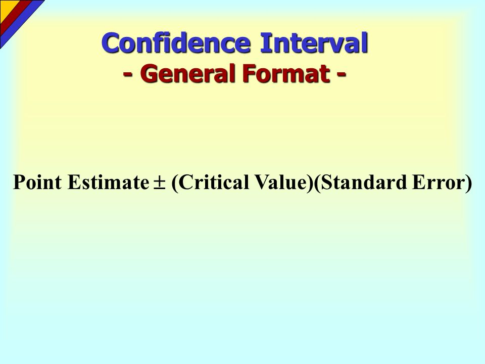 Confidence Interval - General Format -