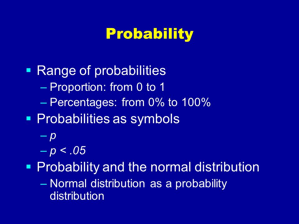 Probability Range of probabilities Probabilities as symbols
