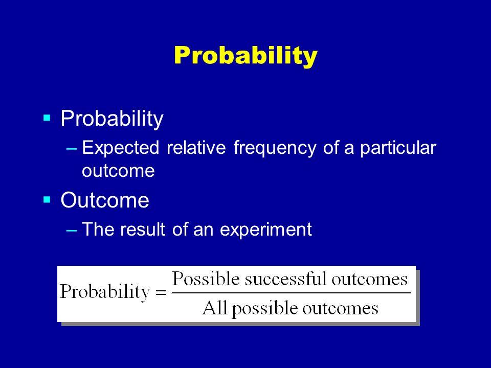 Probability Probability Outcome