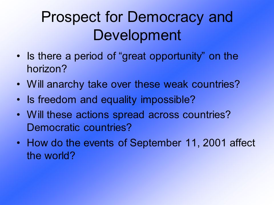 Prospect for Democracy and Development