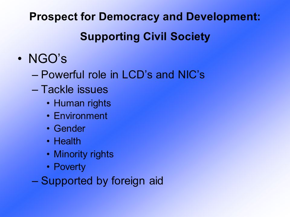 Prospect for Democracy and Development: Supporting Civil Society