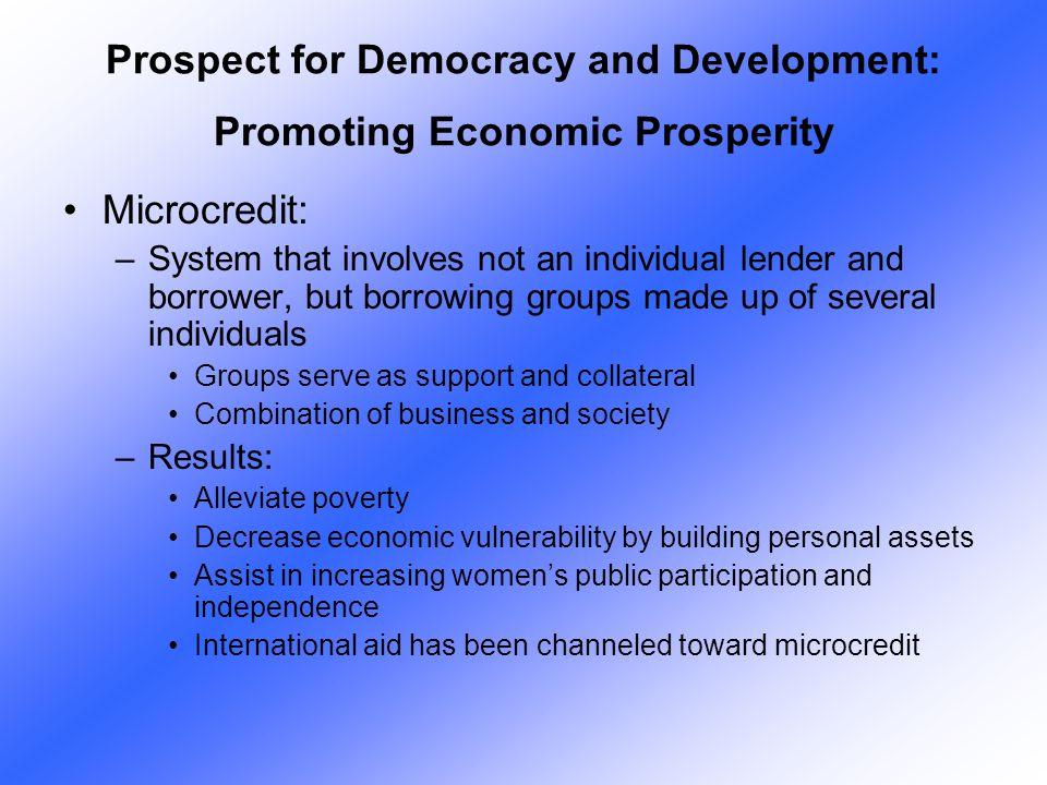 Prospect for Democracy and Development: Promoting Economic Prosperity