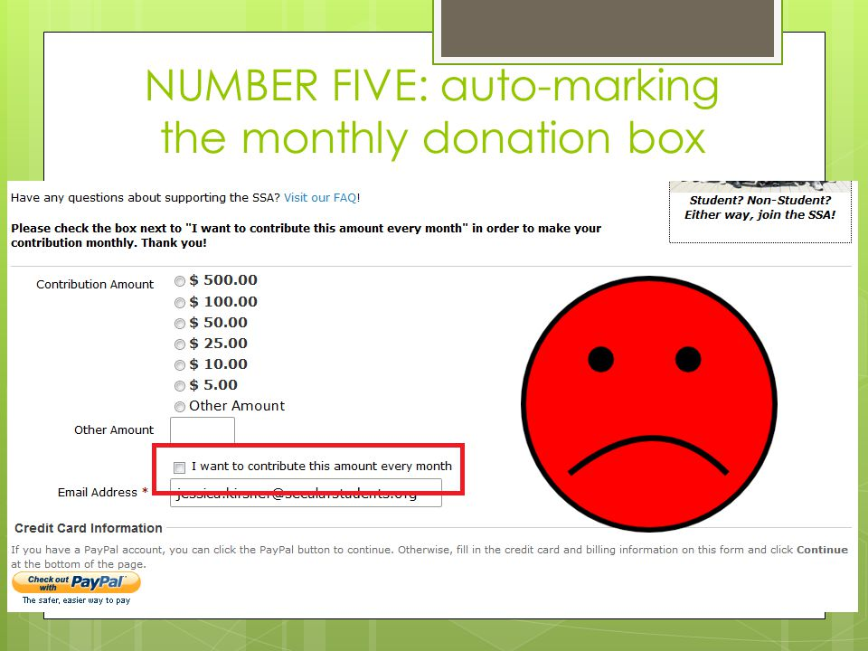 NUMBER FIVE: auto-marking the monthly donation box