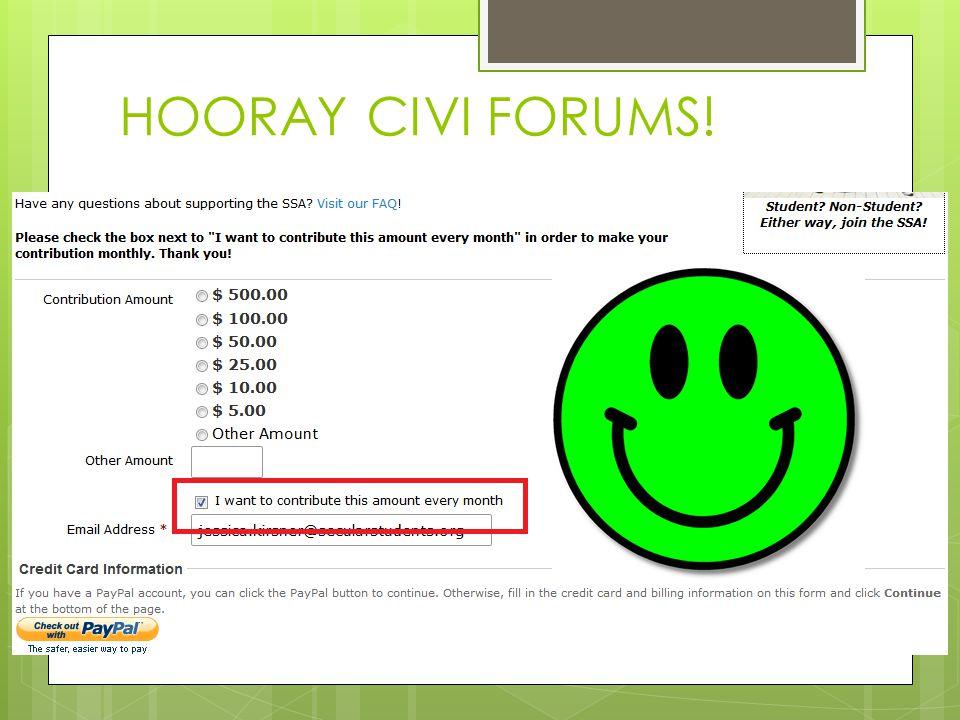 HOORAY CIVI FORUMS!