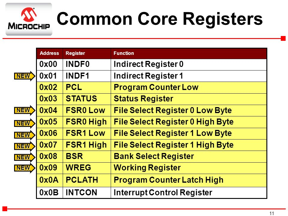 Common Core Registers 0x00 INDF0 Indirect Register 0 0x01 INDF1