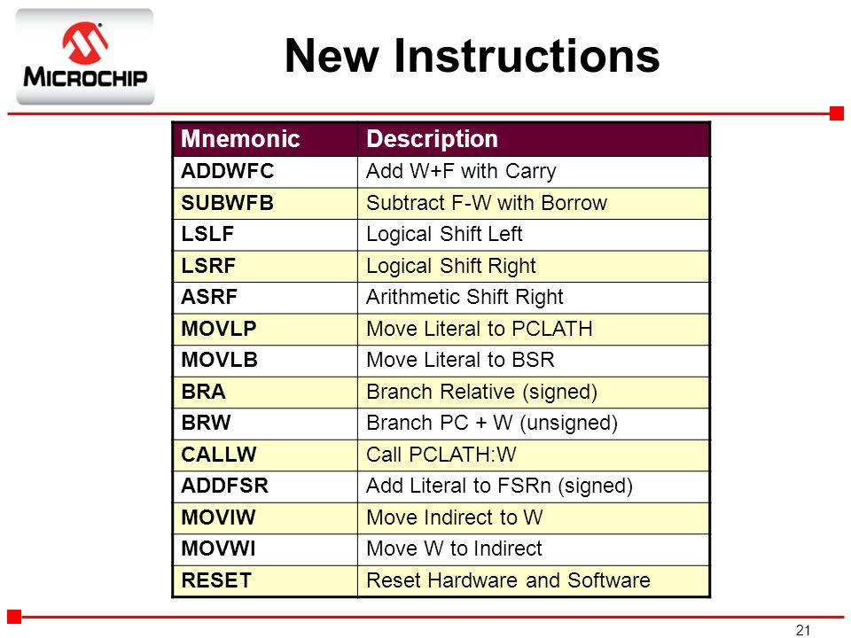 New Instructions Mnemonic Description ADDWFC Add W+F with Carry SUBWFB