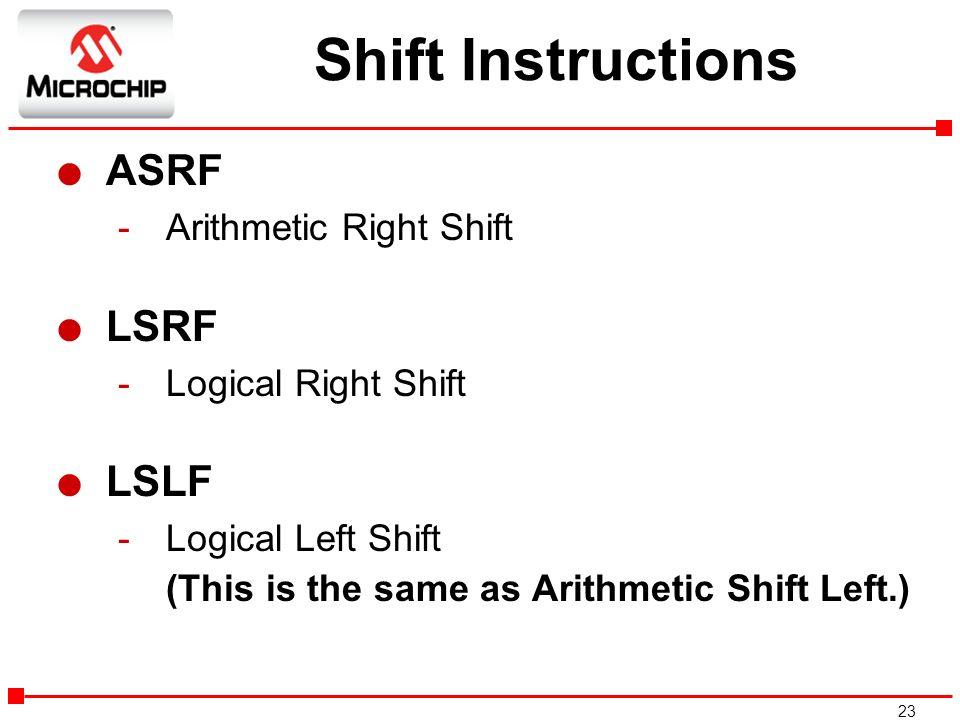 Shift Instructions ASRF LSRF LSLF Arithmetic Right Shift
