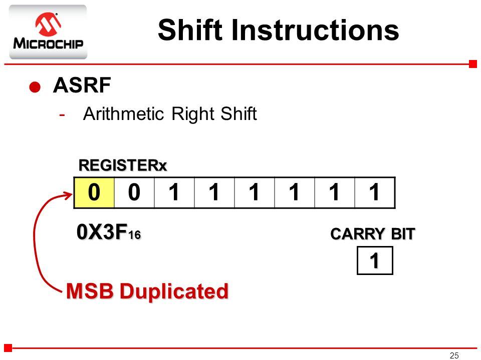 Shift Instructions 1 ASRF 0X3F16 1 MSB Duplicated