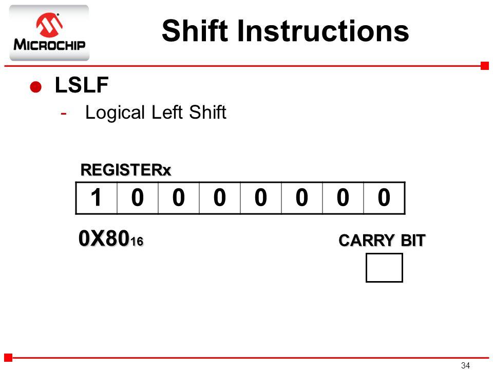 Shift Instructions 1 LSLF 0X8016 Logical Left Shift REGISTERx