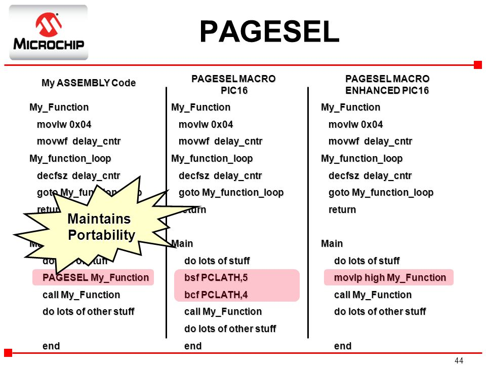 PAGESEL Maintains Portability PAGESEL MACRO PIC16 PAGESEL MACRO