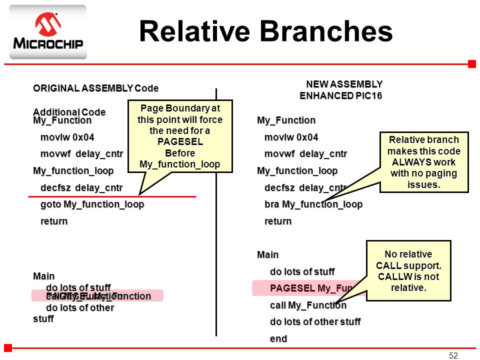 Relative Branches NEW ASSEMBLY ENHANCED PIC16 ORIGINAL ASSEMBLY Code