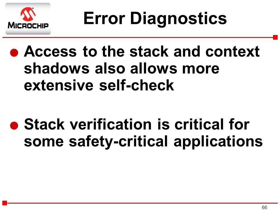 Error Diagnostics Access to the stack and context shadows also allows more extensive self-check.