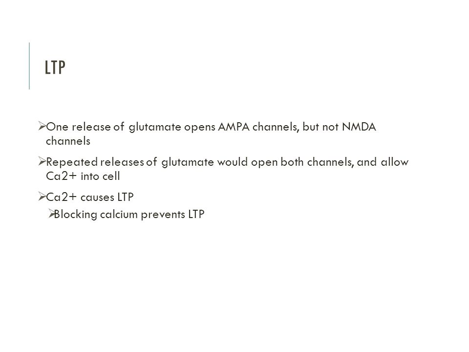 LTP One release of glutamate opens AMPA channels, but not NMDA channels.