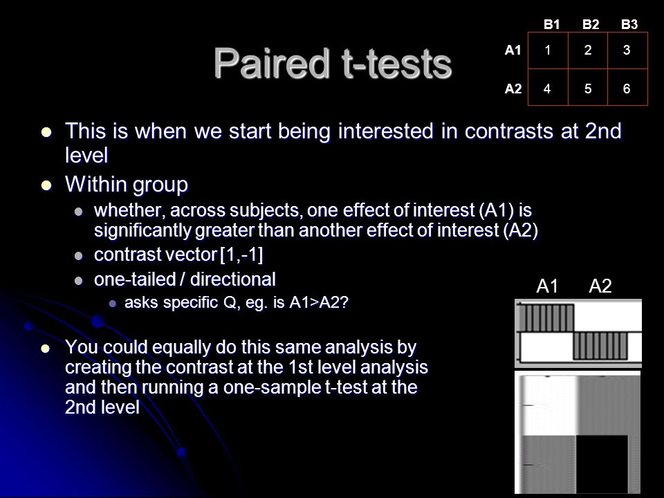 B1 B2. B3. Paired t-tests. A1. 1. 2. 3. A2. 4. 5. 6. This is when we start being interested in contrasts at 2nd level.