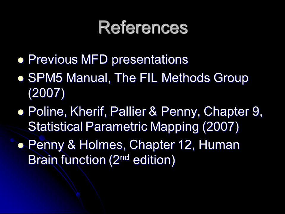 References Previous MFD presentations