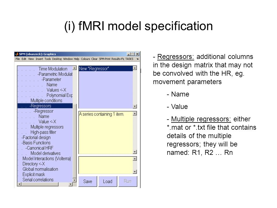 (i) fMRI model specification