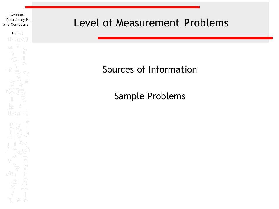 Level of Measurement Problems