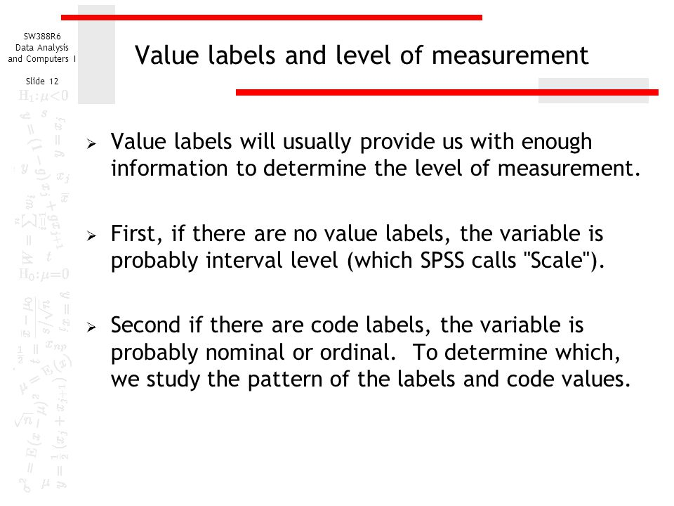 Value labels and level of measurement