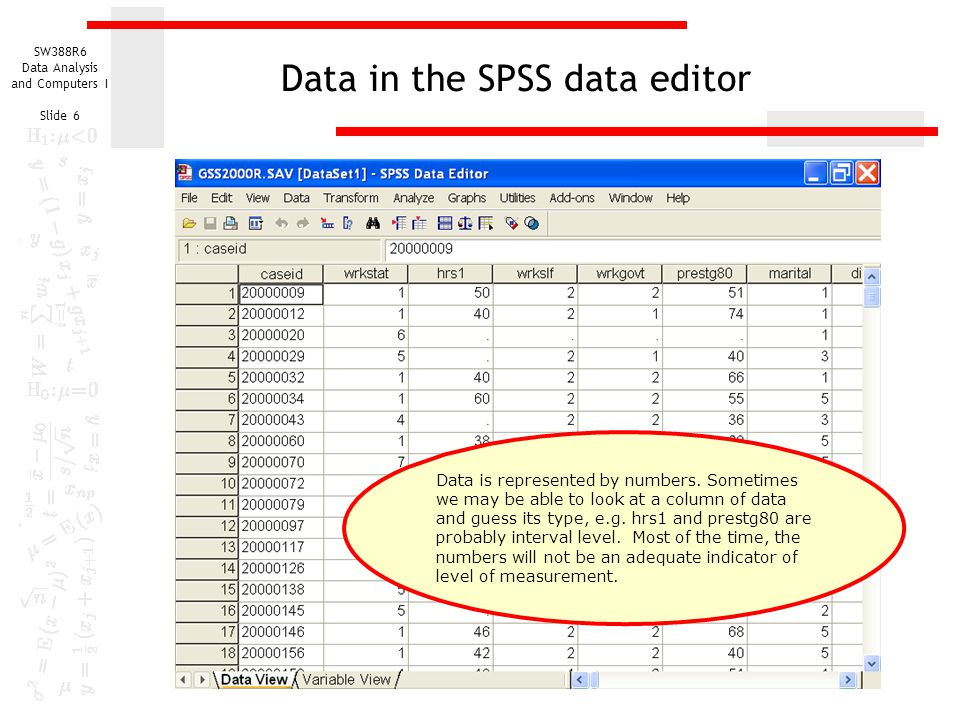 Data in the SPSS data editor