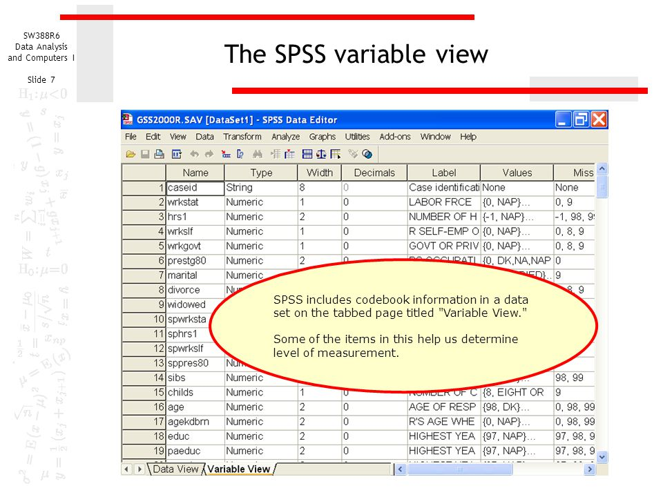 The SPSS variable view SPSS includes codebook information in a data set on the tabbed page titled Variable View.